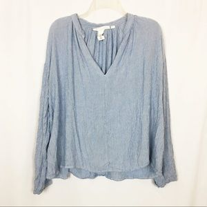 H&M LOGG blue pinstriped oversized flowy top 14